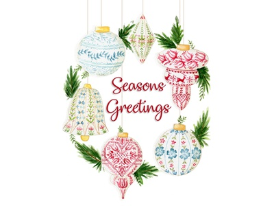 Seasons Greetings scandinavian style bell flowers raindeer christmas decoration deck the halls christmas card wreath details a5 watercolor painting design watercolor cape town art illustration