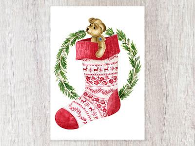 Christmas Stocking design watercolor art capetown artist illustration cards christmas cards deck the halls tis the season winter greens wreath stocking stuffer stocking christmas stocking cuddles teddybear toys for tots christmas card