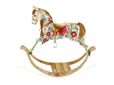 Rocking Around the Clock magic deck the halls jingle bells rocking horse christmas card toy illustration childrens illustration chestnut brown details flowers watercolor painting design watercolor art illustration