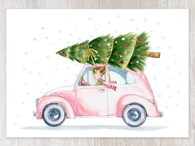 The Happiest Christmas Tree capetown yellow bow winter wear deck the halls beetle vintage car pink car tis the season christmas tree christmas card pink chestnut brown details watercolor painting cape town design watercolor art illustration