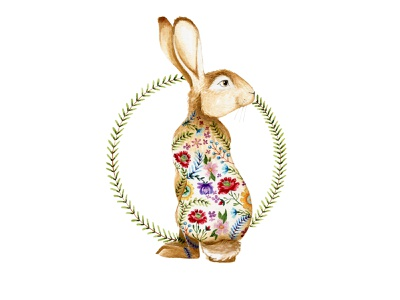 Hare chestnut brown commission wreath rabbit hare flowers watercolor painting design cape town watercolor art illustration
