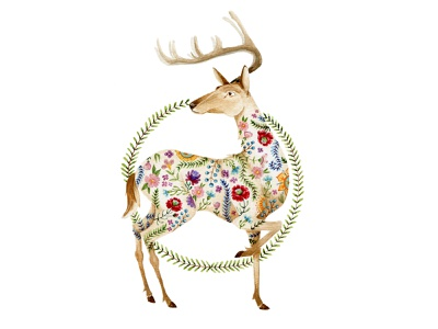 Stag wreath commission deer stag chestnut brown flowers watercolor painting design cape town watercolor art illustration