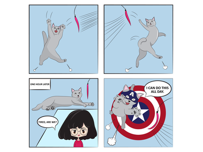 Tails of Suspense: I Can Do This All Day illustration drawing captain america marvel digital art comic strip comic cat comics