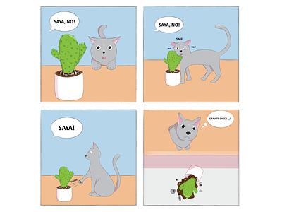 Tails of Suspense: Gravity Check digital art drawing illustration comic strip comic cat comics