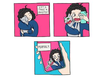 Tails of Suspense: Selfie drawing digital art comic comic strip illustration