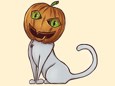 100 Days of Sketching - Spooky digital art halloween cat pumpkin sketching drawing illustration