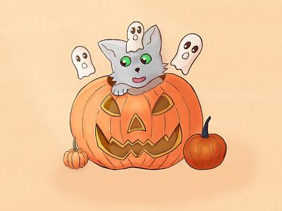 100 Days of Sketching pumpkin cat halloween digital art sketching drawing illustration