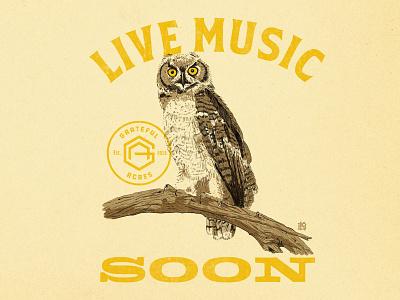 Grateful Acres Owl fox river font soon illustration live music monogram