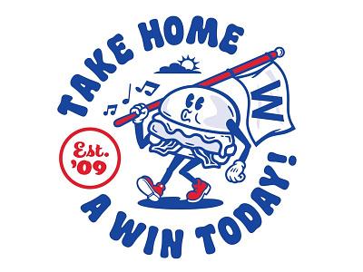 Burgerman w letter baseball mascot cubbies