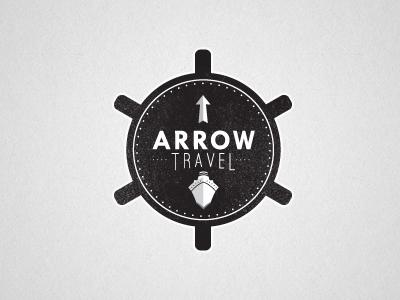 Arrow Travel Logo travel logo ship wheel