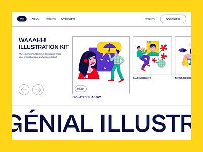 Waaahh! Illustration Kit minimal design illustration typography figma design interaction home page desktop hero banner header minimal website web design