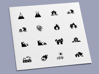 Disaster Icons hurricane drought tsunami landslide earthquake volcano flood fire catastrophe hazard disaster icons icon