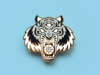 Tiger Enamel Pin art flair pin product vector illustration