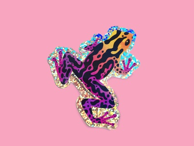 Purple Frog Glitter Sticker amphibian swag sticker flair colorful animal frog cute art vector illustration