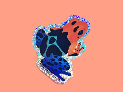 Poison Dart Frog Glitter Sticker sticker frog character amphibian flair colorful design art cute vector illustration