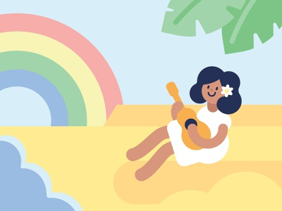 The Fool rainbow vacation tropical ukulele beach tarot vector illustration