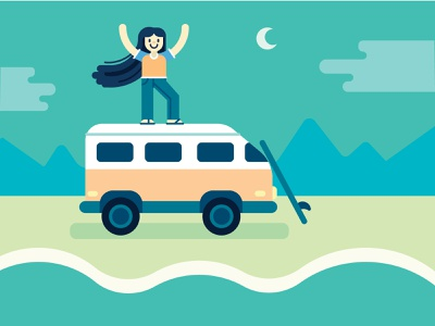 The Chariot free spirit women empowerment camping outdoors surf travel van life vector illustration