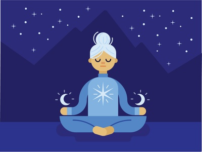 The Hermit stars moon yoga outdoors mountains vector illustration