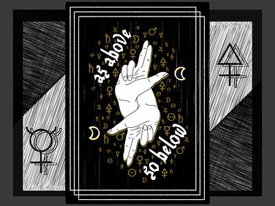 As above So below alchemy dark illustration geometric art vector design