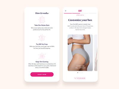 EBY Responsive Site and Subscription Flows user flows creative direction ui ux fashion design pink women microfinance underwear subscription mobile responsive website serif b2c consumer