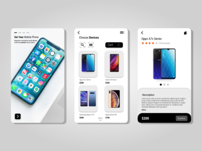 UI design smartphone shop app
