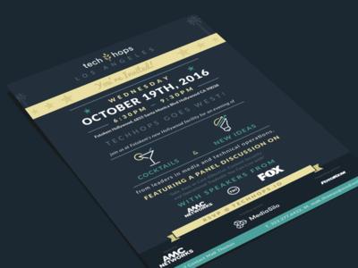 TechHops Invitation los angeles tech hops print handout postcard flyer invitation invite