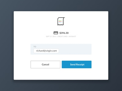 Send Receipt modal ux ui pay paid payment send receipt send receipt
