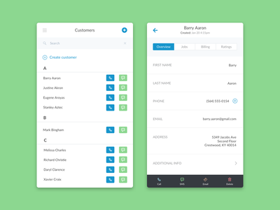 Customers List (Mobile) ux ui android ios mobile people sms contact users customer list customer customers