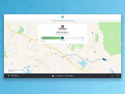 Customer Job Tracker job status tracking service messaging messages map dashboard ui ux customer tracker