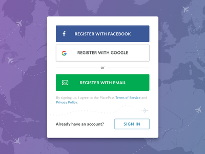 Register Modal / PlacePass create account popout ux flow on boarding form log in sign in sign up login modal register