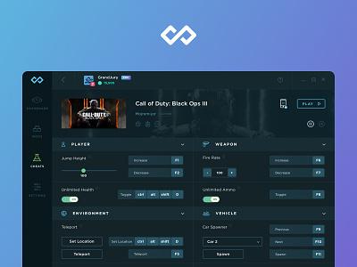Infinity / WeMod dark ui product design interface windows app pc app desktop application desktop app pc dark page modding mod cheats dashboard ux ui video game gaming