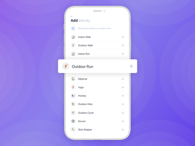 Add Activity / Ladder add activity select add activity health fitness user interface iphone ios mobile ux ui