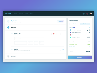 👽 Checkout / WeMod cart ui subscribe form pay shopping cart cart subscription subscribe web ui web application web app web form payment form payment checkout ui ux product design
