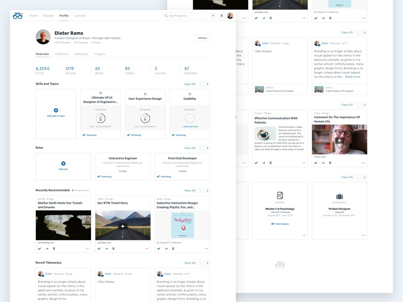 Degreed Profile Overview web ux ui profile minimal content clean cards