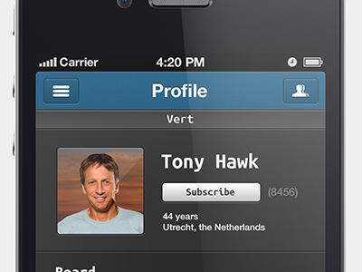 Skate App skate app tony hawk retina iphone ui gui interface school
