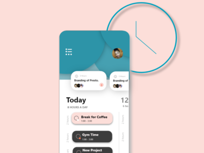 Mobile User Interface for a time management app