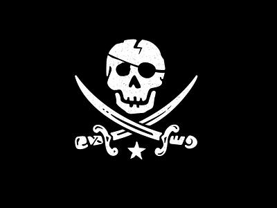 Jolly Roger Flag eyepatch screenprint black star swords skulls flag jolly roger