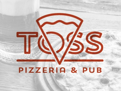 Toss logotype outline slice red pub pizza