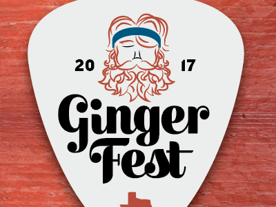 GingerFest logo vibes good beards redheads gingers festival guitar pick
