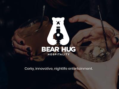 Bear Hug Hospitality branding hospitality hugs libations nightlife bars bear illustration design logo black texas bar austin