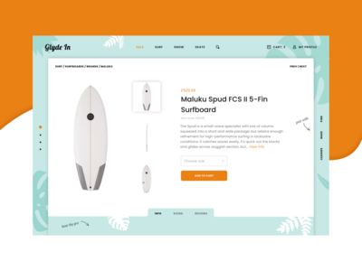 "Surf Skate and Snow online shop - ""View Surfboard"" page - hero"