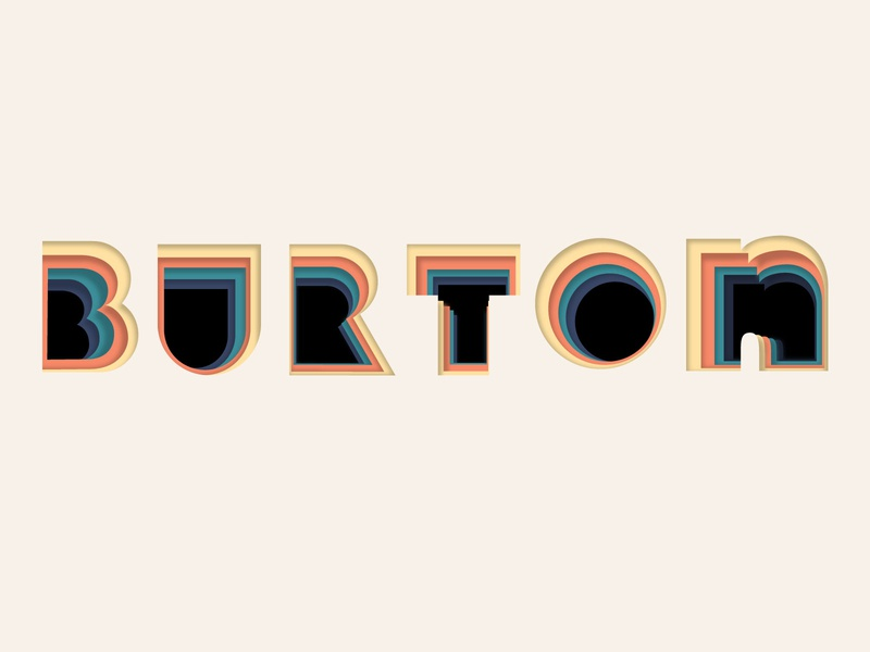 Burton Snowboard Graphic depth layered layer 3d flat design logo flat illustration illustrator vector design