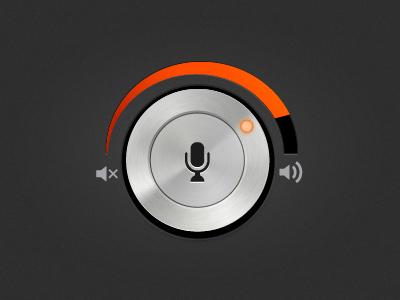Mic Volume Widget volume microphone mic control knob dial metalic dark orange ui audio