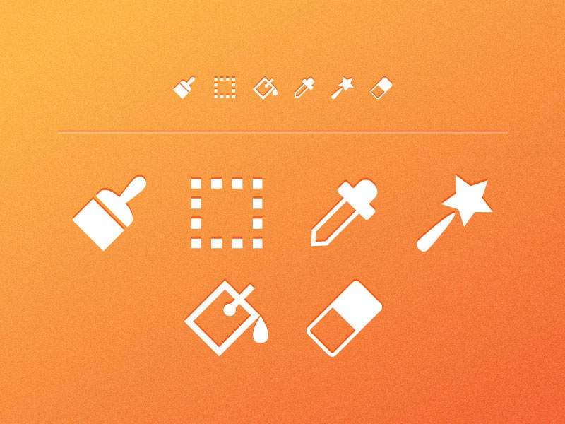 Toolbar Icons icon minimal free freebie ai brush eye dropper magic wand bucket eraser ui