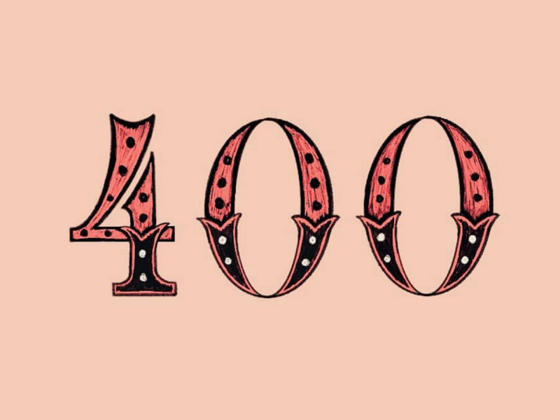 400. black pink illustration numbers vintage sketch procreate ipad lettering lettering