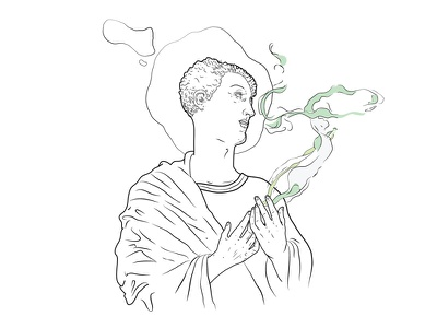 Divine Rejects religious weed 420 smoke bw simple illustration