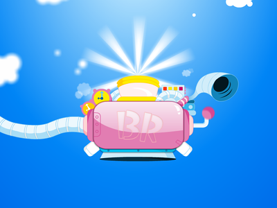 Baskin Robbins Double headed cone promo steampunk kids toon sky ice cream machine baskin robbins animation illustration