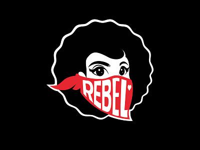 Bandana tshirt afro woman bandana rebel illustration