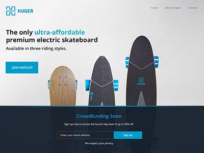 Huger Tech Landing Page crowdfund landing webdesign ui electric skateboard