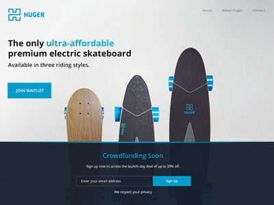 Huger Tech Landing Page crowdfund landing webdesign ui electric skateboard